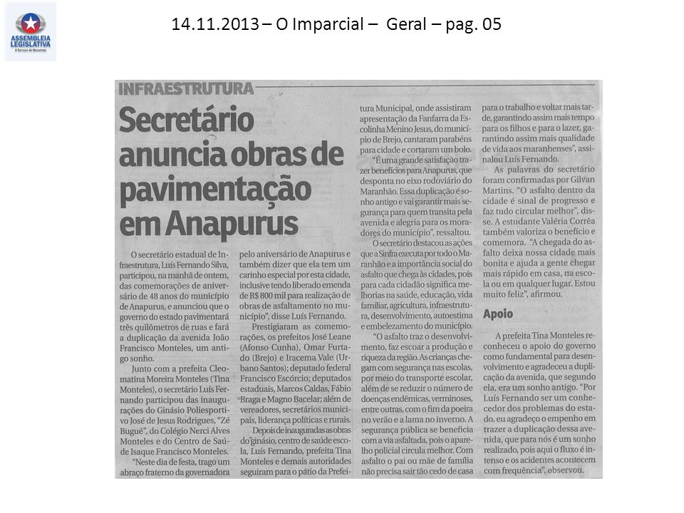 14.11.2013 – O Imparcial – Geral – pag. 05