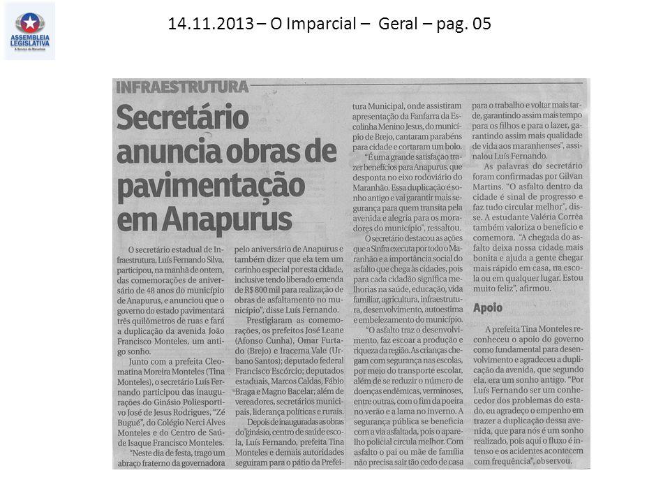 14.11.2013 – O Imparcial – Geral – pag. 05