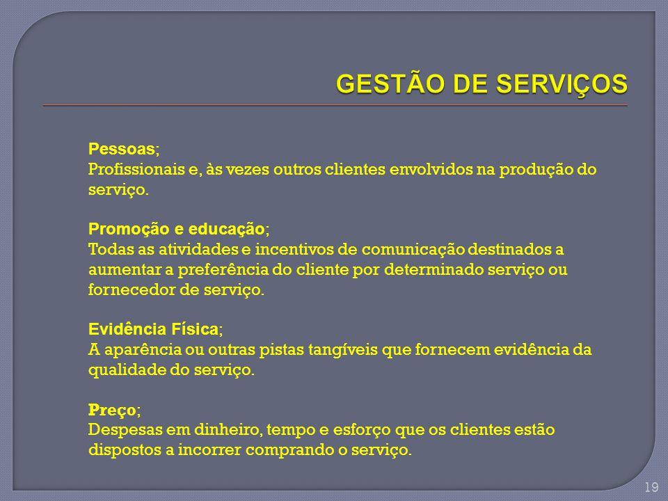 Pessoas ; Profissionais e, às vezes outros clientes envolvidos na produção do serviço. Promoção e educação ; Todas as atividades e incentivos de comun