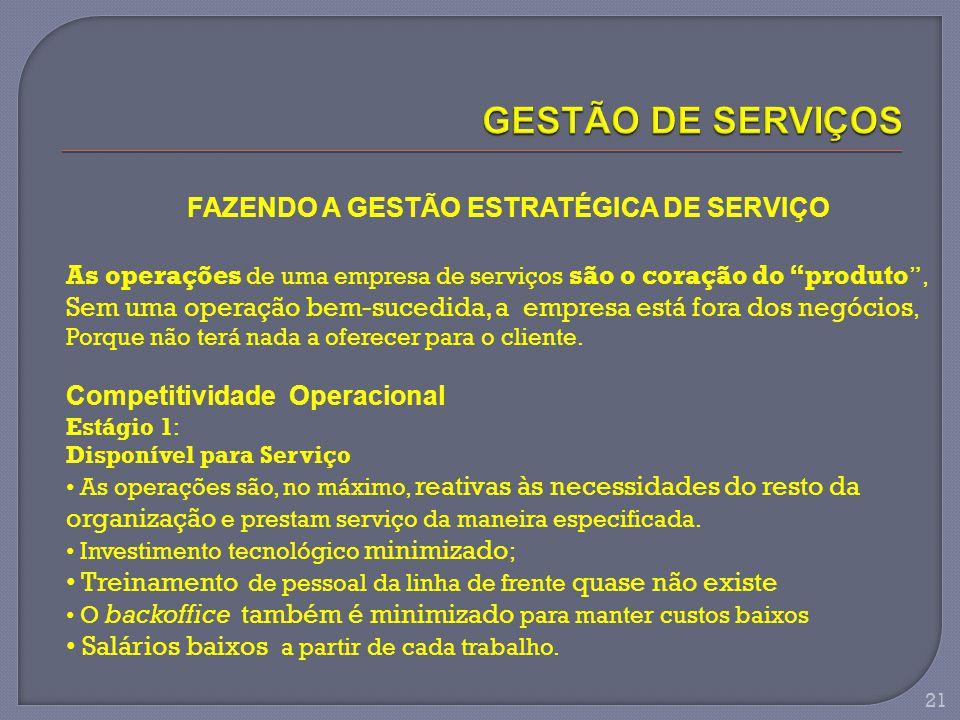 """FAZENDO A GESTÃO ESTRATÉGICA DE SERVIÇO As operações de uma empresa de serviços são o coração do """"produto """", Sem uma operação bem-sucedida, a empresa"""