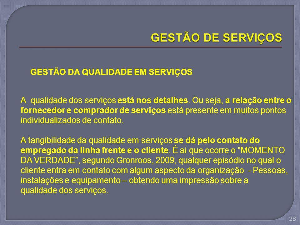 28 GESTÃO DA QUALIDADE EM SERVIÇOS A qualidade dos serviços está nos detalhes. Ou seja, a relação entre o fornecedor e comprador de serviços está pres