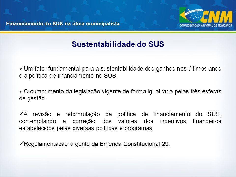 Financiamento do SUS na ótica municipalista Sustentabilidade do SUS Um fator fundamental para a sustentabilidade dos ganhos nos últimos anos é a polít