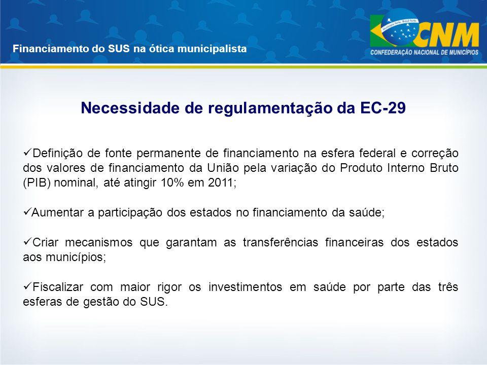 Financiamento do SUS na ótica municipalista Necessidade de regulamentação da EC-29 Definição de fonte permanente de financiamento na esfera federal e