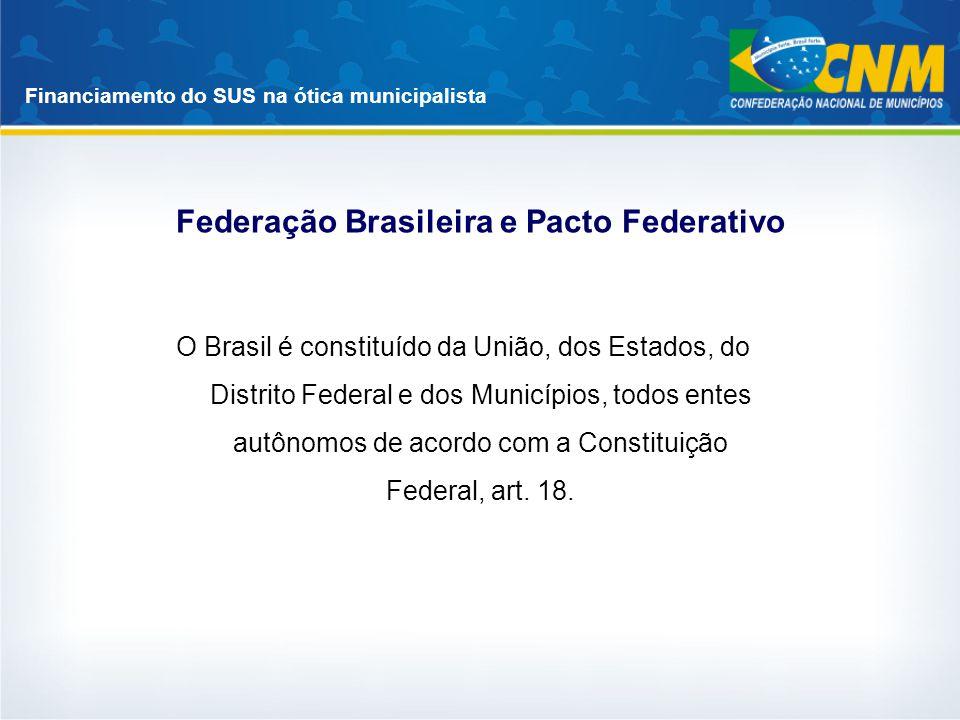 Financiamento do SUS na ótica municipalista Federação Brasileira e Pacto Federativo O Brasil é constituído da União, dos Estados, do Distrito Federal