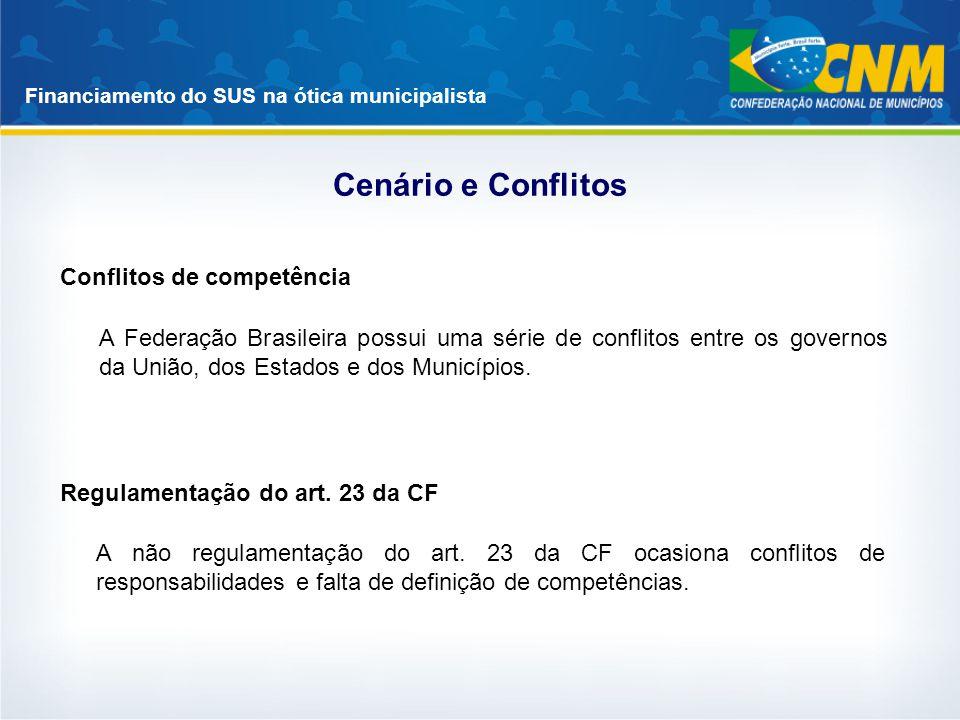 Financiamento do SUS na ótica municipalista Cenário e Conflitos A Federação Brasileira possui uma série de conflitos entre os governos da União, dos E