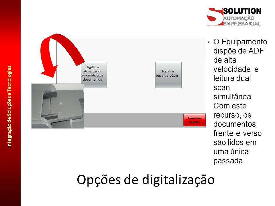 Integração de Soluções e Tecnologias Opções de digitalização O Equipamento dispõe de ADF de alta velocidade e leitura dual scan simultânea. Com este r