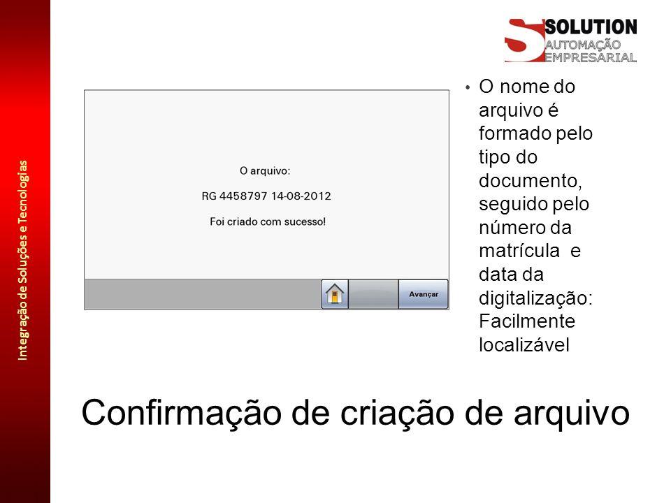 Integração de Soluções e Tecnologias Confirmação de criação de arquivo O nome do arquivo é formado pelo tipo do documento, seguido pelo número da matr