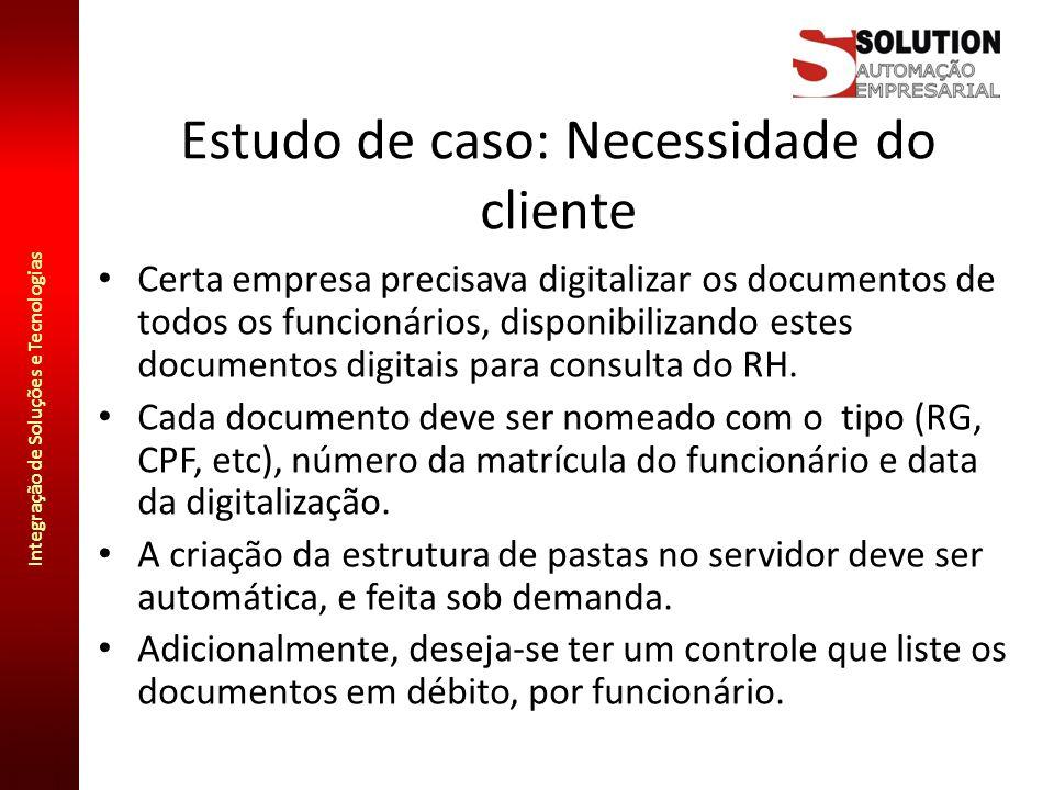 Integração de Soluções e Tecnologias Estudo de caso: Necessidade do cliente Certa empresa precisava digitalizar os documentos de todos os funcionários