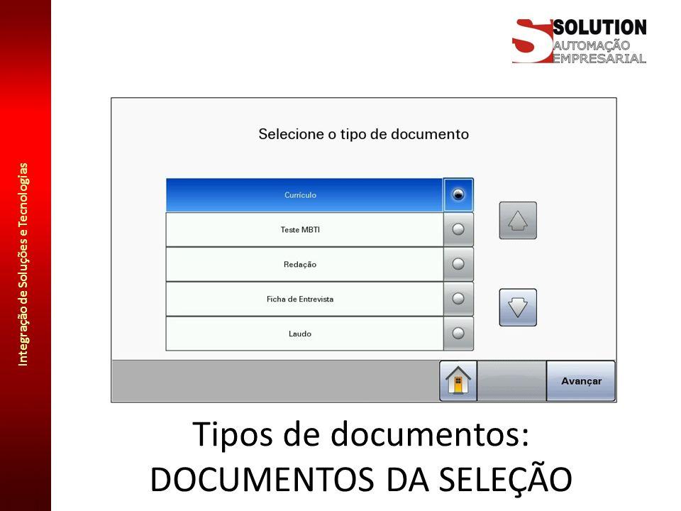 Integração de Soluções e Tecnologias Tipos de documentos: DOCUMENTOS DA SELEÇÃO