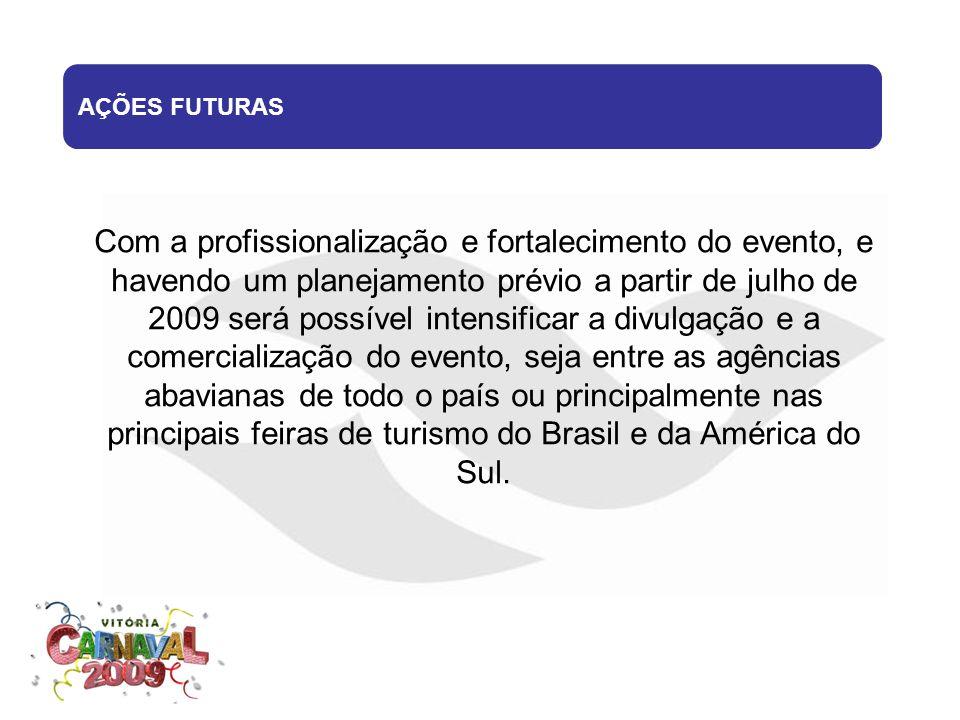 Com a profissionalização e fortalecimento do evento, e havendo um planejamento prévio a partir de julho de 2009 será possível intensificar a divulgaçã