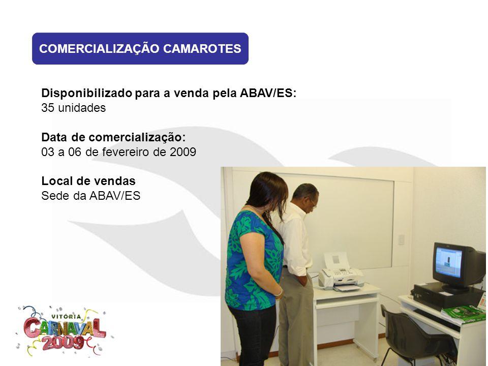 COMERCIALIZAÇÃO CAMAROTES Disponibilizado para a venda pela ABAV/ES: 35 unidades Data de comercialização: 03 a 06 de fevereiro de 2009 Local de vendas