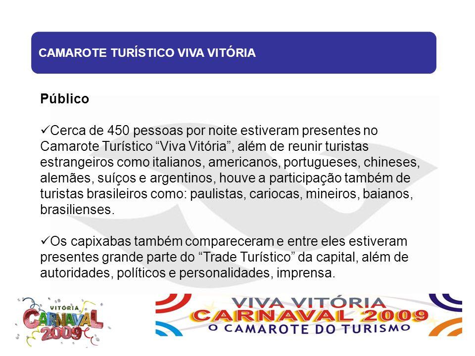 """CAMAROTE TURÍSTICO VIVA VITÓRIA Público Cerca de 450 pessoas por noite estiveram presentes no Camarote Turístico """"Viva Vitória"""", além de reunir turist"""