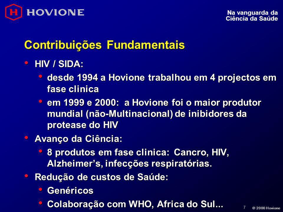 7 © 2000 Hovione Na vanguarda da Ciência da Saúde Contribuições Fundamentais HIV / SIDA: HIV / SIDA: desde 1994 a Hovione trabalhou em 4 projectos em