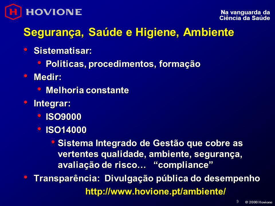 9 © 2000 Hovione Na vanguarda da Ciência da Saúde Segurança, Saúde e Higiene, Ambiente Sistematisar: Sistematisar: Politicas, procedimentos, formação