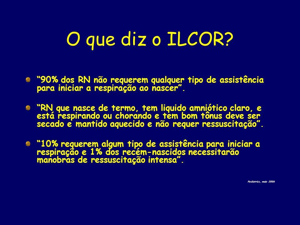 """O que diz o ILCOR? """"90% dos RN não requerem qualquer tipo de assistência para iniciar a respiração ao nascer"""". """"RN que nasce de termo, tem liquido amn"""