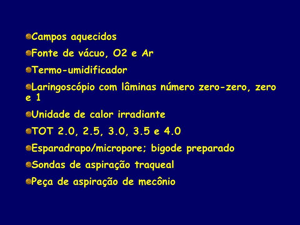 Campos aquecidos Fonte de vácuo, O2 e Ar Termo-umidificador Laringoscópio com lâminas número zero-zero, zero e 1 Unidade de calor irradiante TOT 2.0,