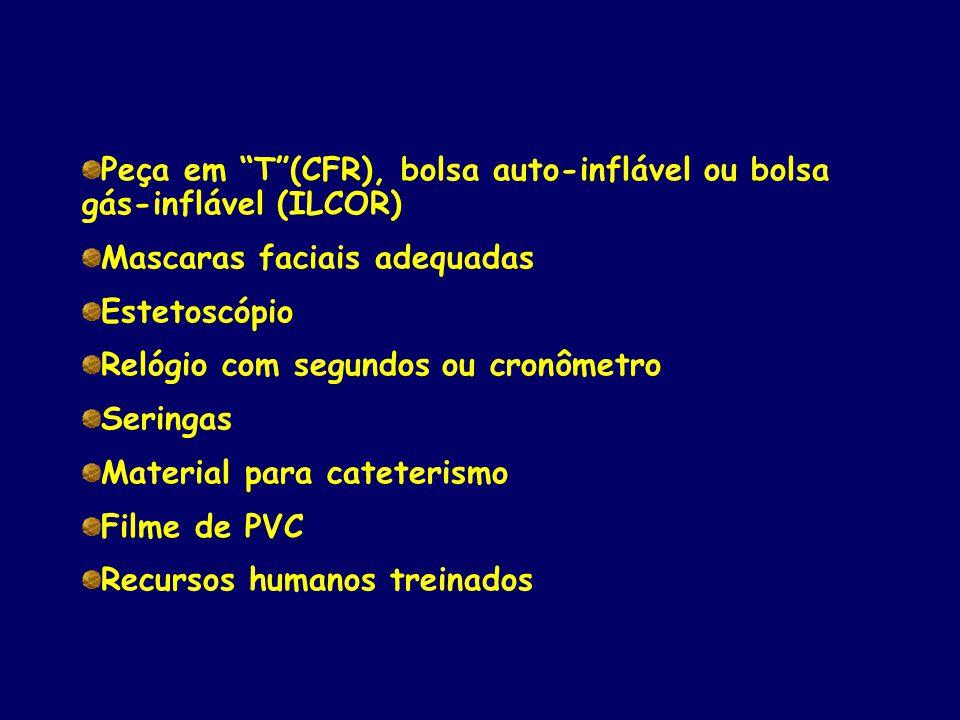 """Peça em """"T""""(CFR), bolsa auto-inflável ou bolsa gás-inflável (ILCOR) Mascaras faciais adequadas Estetoscópio Relógio com segundos ou cronômetro Seringa"""