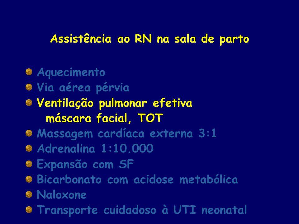 Assistência ao RN na sala de parto Aquecimento Via aérea pérvia Ventilação pulmonar efetiva máscara facial, TOT Massagem cardíaca externa 3:1 Adrenali