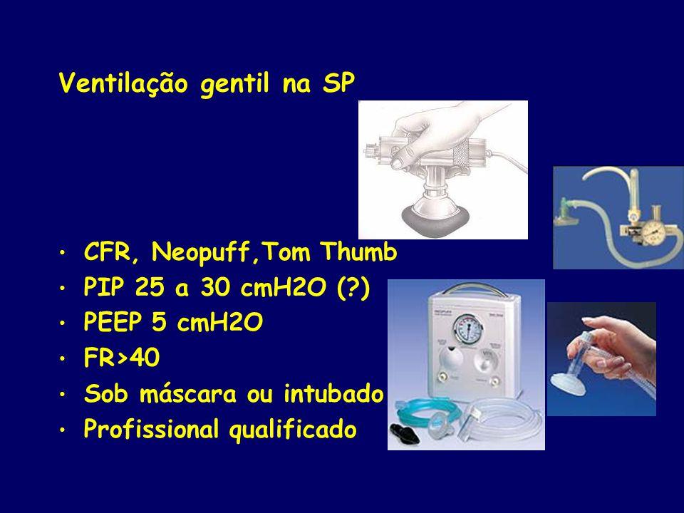 Ventilação gentil na SP CFR, Neopuff,Tom Thumb PIP 25 a 30 cmH2O (?) PEEP 5 cmH2O FR>40 Sob máscara ou intubado Profissional qualificado