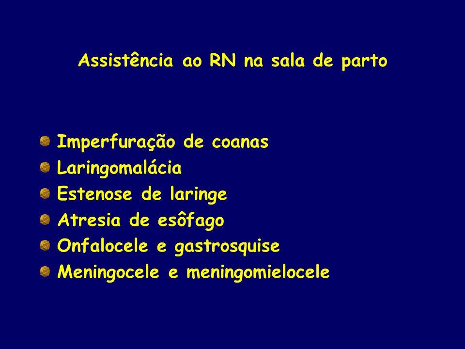 Assistência ao RN na sala de parto Imperfuração de coanas Laringomalácia Estenose de laringe Atresia de esôfago Onfalocele e gastrosquise Meningocele