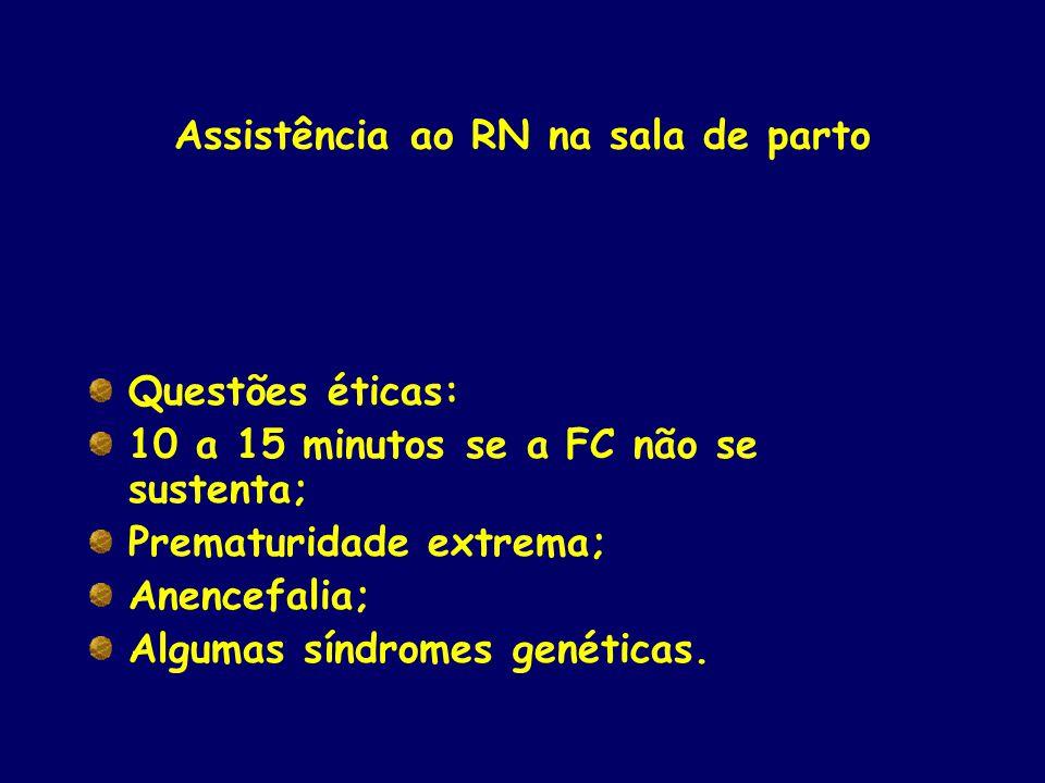 Assistência ao RN na sala de parto Questões éticas: 10 a 15 minutos se a FC não se sustenta; Prematuridade extrema; Anencefalia; Algumas síndromes gen