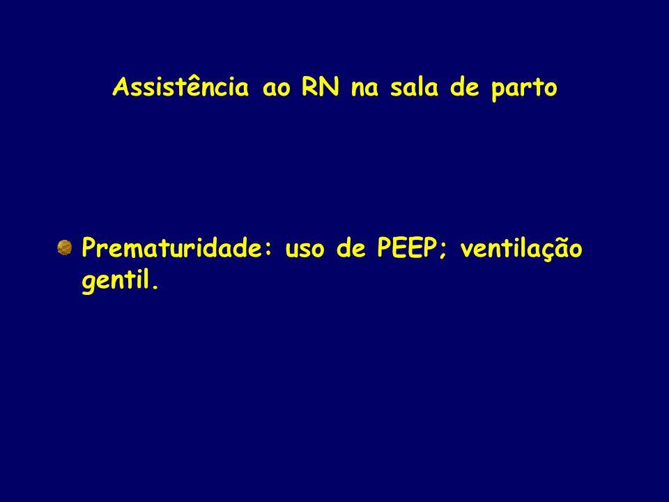 Assistência ao RN na sala de parto Prematuridade: uso de PEEP; ventilação gentil.