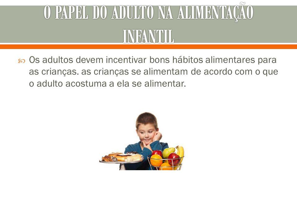  Os adultos devem incentivar bons hábitos alimentares para as crianças. as crianças se alimentam de acordo com o que o adulto acostuma a ela se alime