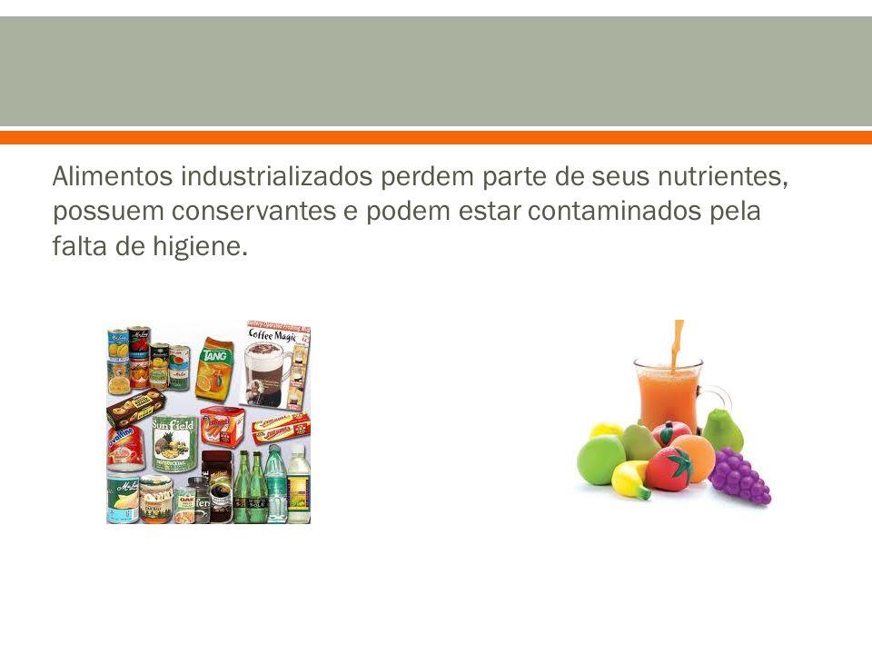 Alimentos industrializados perdem parte de seus nutrientes, possuem conservantes e podem estar contaminados pela falta de higiene.