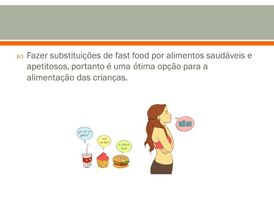  Fazer substituições de fast food por alimentos saudáveis e apetitosos, portanto é uma ótima opção para a alimentação das crianças.
