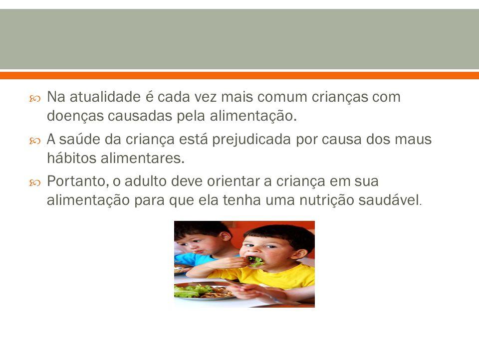  Na atualidade é cada vez mais comum crianças com doenças causadas pela alimentação.  A saúde da criança está prejudicada por causa dos maus hábitos