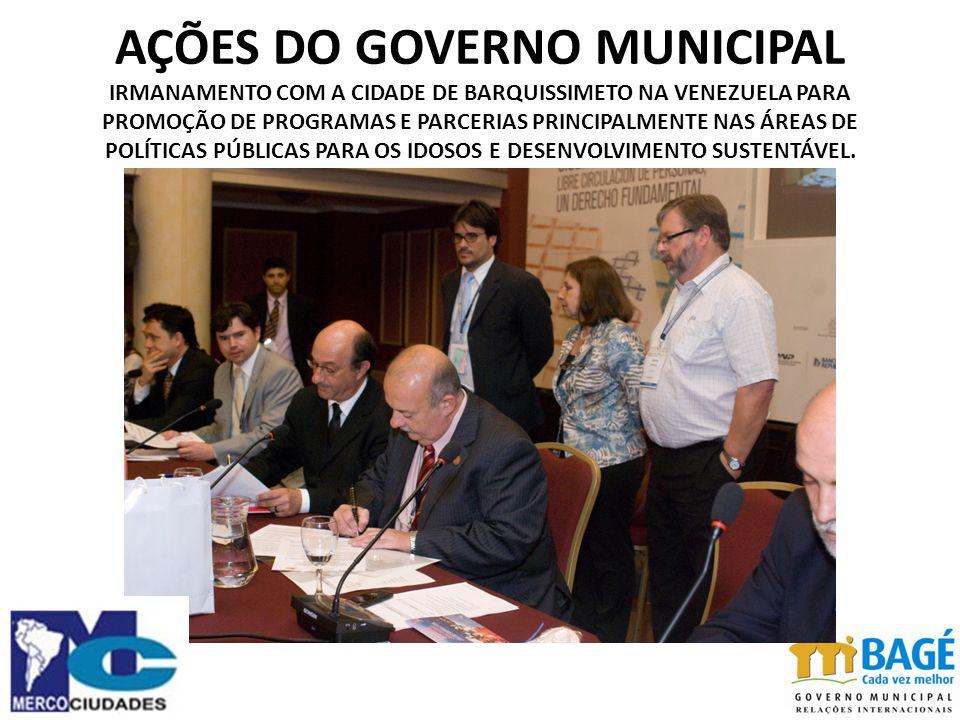 AÇÕES DO GOVERNO MUNICIPAL IRMANAMENTO COM A CIDADE DE BARQUISSIMETO NA VENEZUELA PARA PROMOÇÃO DE PROGRAMAS E PARCERIAS PRINCIPALMENTE NAS ÁREAS DE POLÍTICAS PÚBLICAS PARA OS IDOSOS E DESENVOLVIMENTO SUSTENTÁVEL.