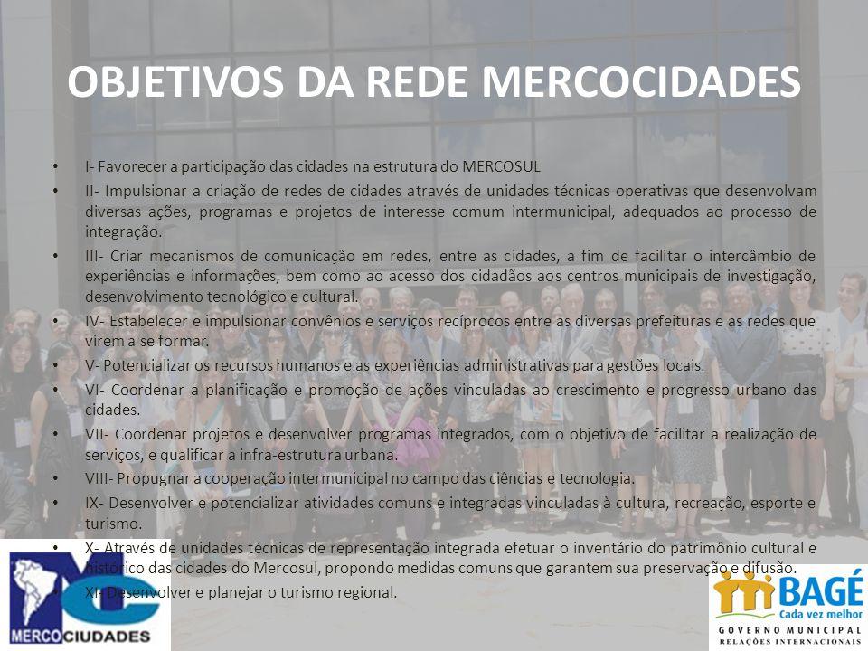 OBJETIVOS DA REDE MERCOCIDADES I- Favorecer a participação das cidades na estrutura do MERCOSUL II- Impulsionar a criação de redes de cidades através de unidades técnicas operativas que desenvolvam diversas ações, programas e projetos de interesse comum intermunicipal, adequados ao processo de integração.