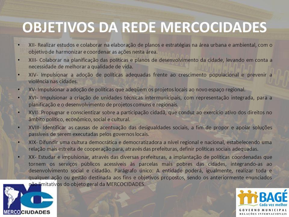 OBJETIVOS DA REDE MERCOCIDADES XII- Realizar estudos e colaborar na elaboração de planos e estratégias na área urbana e ambiental, com o objetivo de harmonizar e coordenar as ações nesta área.
