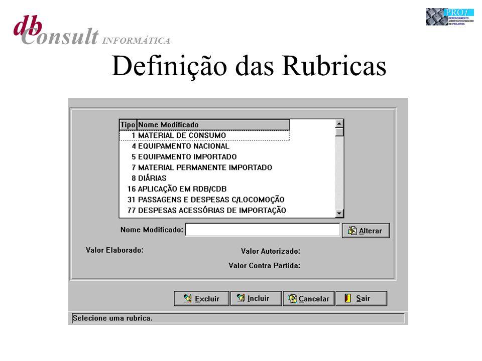 db Consult INFORMÁTICA Definição das Rubricas