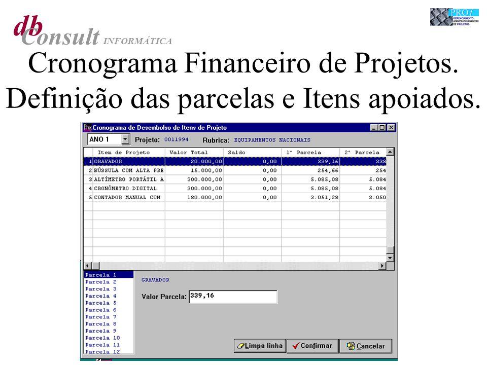 db Consult INFORMÁTICA Cronograma Financeiro de Projetos. Definição das parcelas e Itens apoiados.