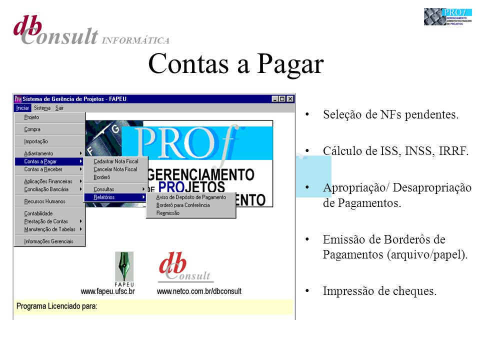 db Consult INFORMÁTICA Contas a Pagar Seleção de NFs pendentes.