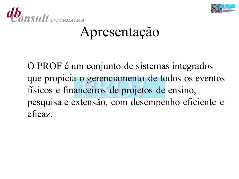 Apresentação O PROF é um conjunto de sistemas integrados que propicia o gerenciamento de todos os eventos físicos e financeiros de projetos de ensino,