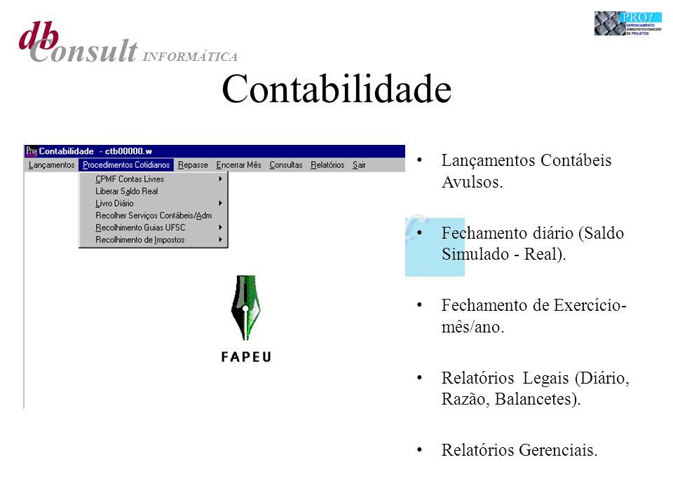 db Consult INFORMÁTICA Contabilidade Lançamentos Contábeis Avulsos. Fechamento diário (Saldo Simulado - Real). Fechamento de Exercício- mês/ano. Relat