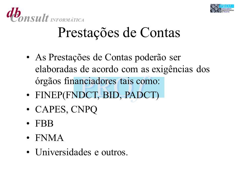 Prestações de Contas As Prestações de Contas poderão ser elaboradas de acordo com as exigências dos órgãos financiadores tais como: FINEP(FNDCT, BID, PADCT) CAPES, CNPQ FBB FNMA Universidades e outros.