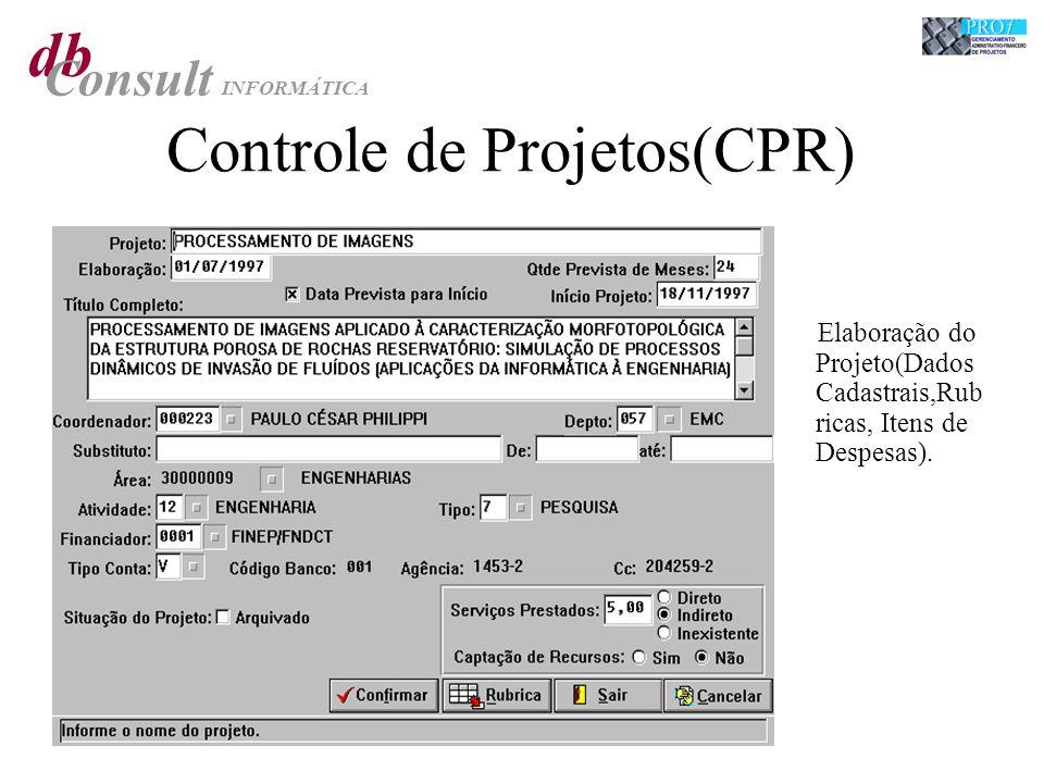 db Consult INFORMÁTICA Controle de Projetos(CPR) Elaboração do Projeto(Dados Cadastrais,Rub ricas, Itens de Despesas).