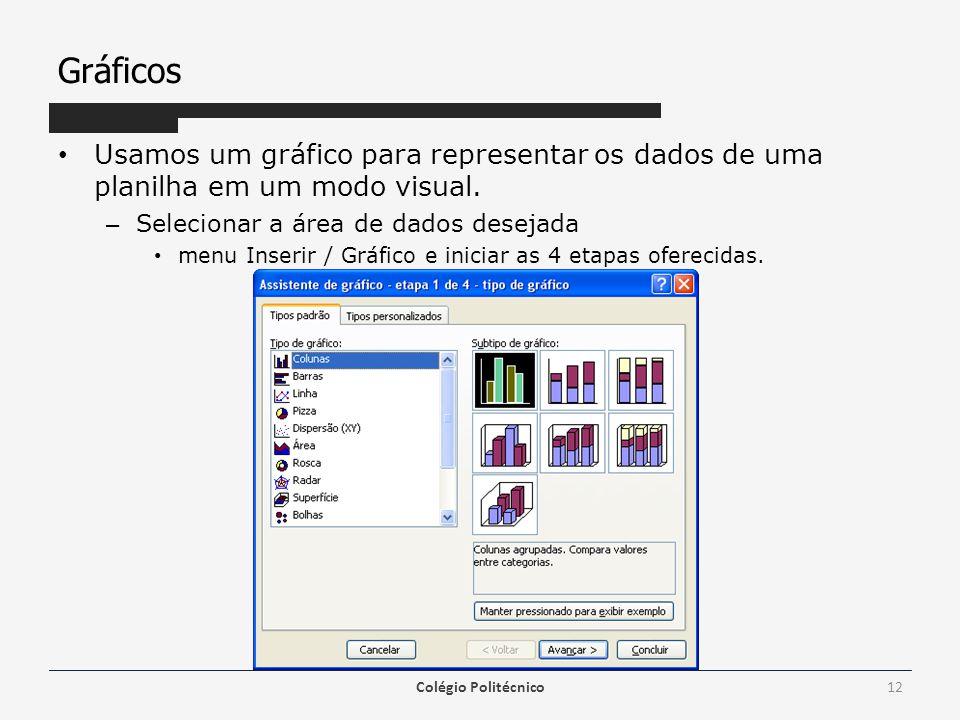Gráficos Usamos um gráfico para representar os dados de uma planilha em um modo visual. – Selecionar a área de dados desejada menu Inserir / Gráfico e