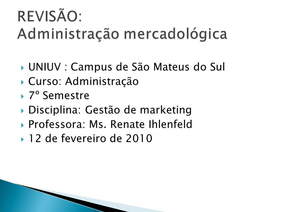  UNIUV : Campus de São Mateus do Sul  Curso: Administração  7º Semestre  Disciplina: Gestão de marketing  Professora: Ms.