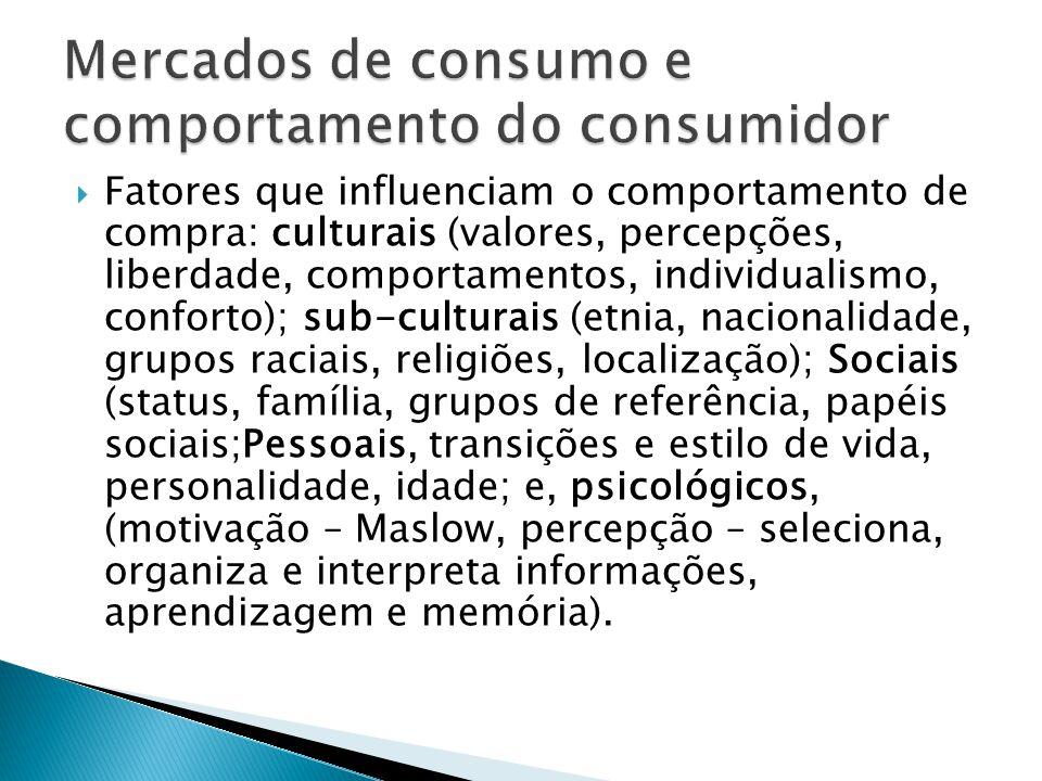  Fatores que influenciam o comportamento de compra: culturais (valores, percepções, liberdade, comportamentos, individualismo, conforto); sub-culturais (etnia, nacionalidade, grupos raciais, religiões, localização); Sociais (status, família, grupos de referência, papéis sociais;Pessoais, transições e estilo de vida, personalidade, idade; e, psicológicos, (motivação – Maslow, percepção – seleciona, organiza e interpreta informações, aprendizagem e memória).