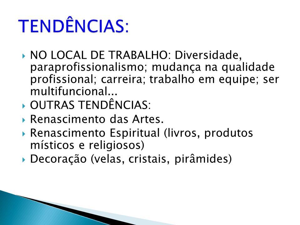  NO LOCAL DE TRABALHO: Diversidade, paraprofissionalismo; mudança na qualidade profissional; carreira; trabalho em equipe; ser multifuncional...