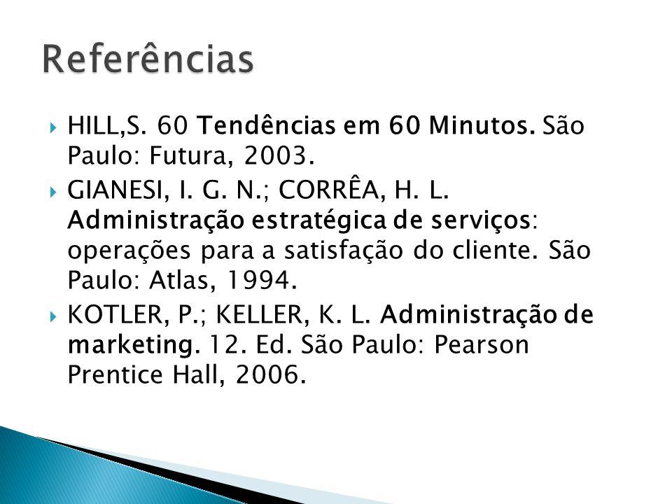  HILL,S.60 Tendências em 60 Minutos. São Paulo: Futura, 2003.