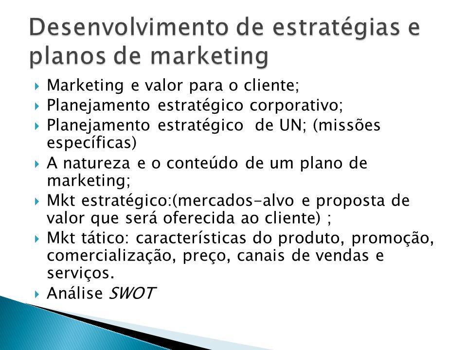  Marketing e valor para o cliente;  Planejamento estratégico corporativo;  Planejamento estratégico de UN; (missões específicas)  A natureza e o conteúdo de um plano de marketing;  Mkt estratégico:(mercados-alvo e proposta de valor que será oferecida ao cliente) ;  Mkt tático: características do produto, promoção, comercialização, preço, canais de vendas e serviços.