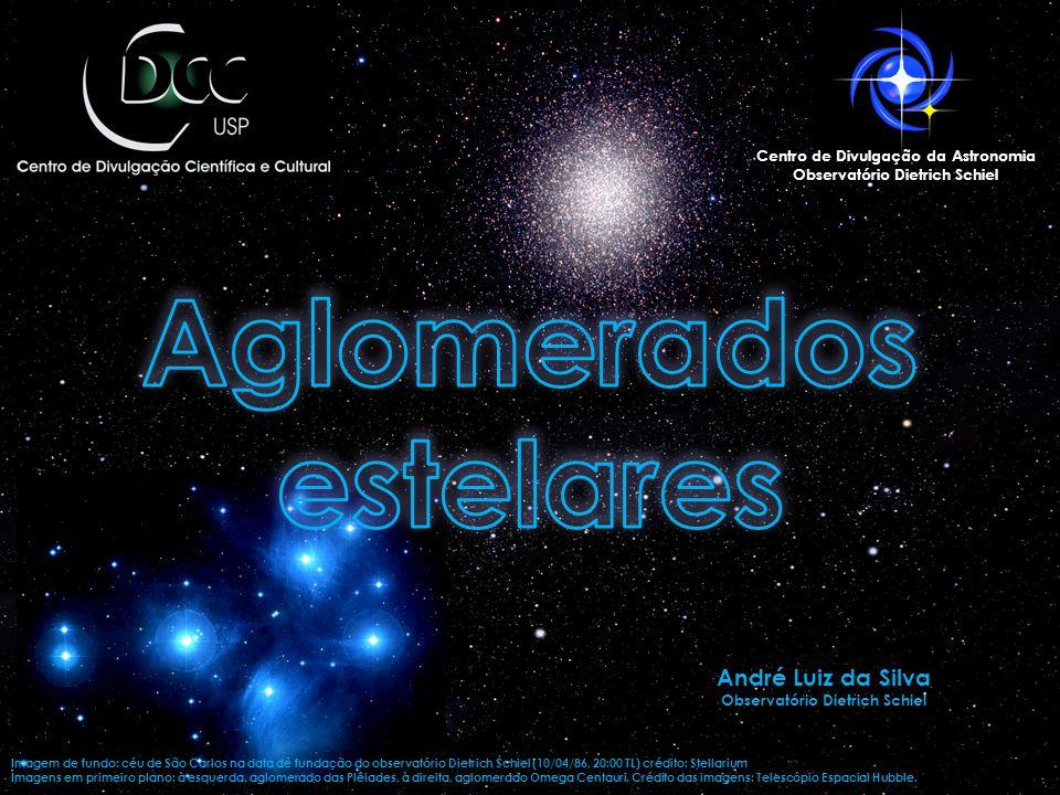 Imagem de fundo: céu de São Carlos na data de fundação do observatório Dietrich Schiel (10/04/86, 20:00 TL) crédito: Stellarium Imagens em primeiro plano: à esquerda, aglomerado das Plêiades, à direita, aglomerado Omega Centauri.