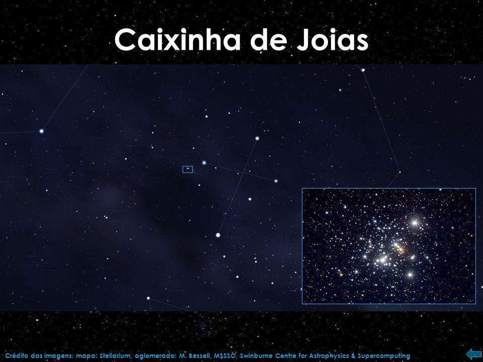 Omega Centauri Crédito das imagens: mapa: Stellarium, aglomerado: Telescópio Espacial Hubble