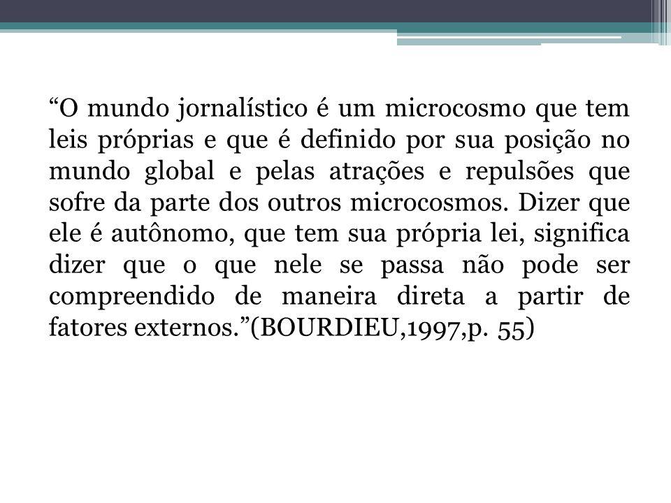 O mundo jornalístico é um microcosmo que tem leis próprias e que é definido por sua posição no mundo global e pelas atrações e repulsões que sofre da parte dos outros microcosmos.