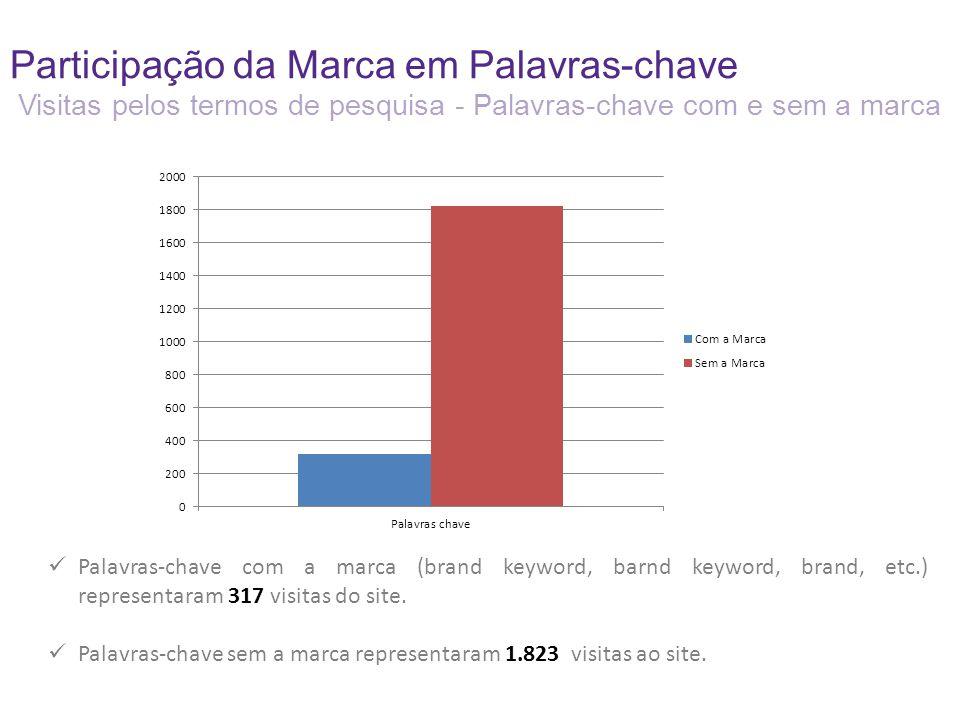 Participação da Marca em Palavras-chave Visitas pelos termos de pesquisa - Palavras-chave com e sem a marca Palavras-chave com a marca (brand keyword, barnd keyword, brand, etc.) representaram 317 visitas do site.